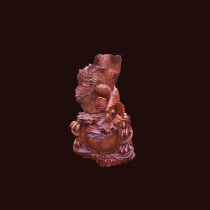 Tượng cá xiêm gỗ hương 55x30x26cm
