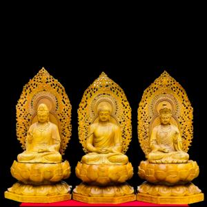 Tượng Tam Thánh Ngồi Đài Sen Gỗ Cẩm Vàng 88x45x45cm