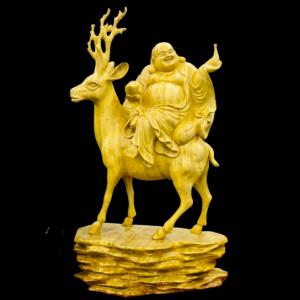 Tượng Phật Di Lặc Cưỡi Hươu Gỗ Cẩm Vàng 58x32x16cm