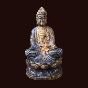 Tượng Phật Thích Ca gỗ mun hoa 50x25x25cm