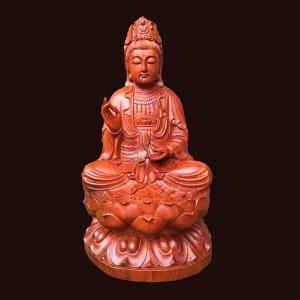 Tượng Phật Quan Âm ngồi đài sen gỗ hương Gia Lai