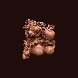 Tượng Di Lặc gỗ nu hương  50x45x30cm