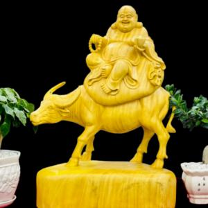 Tượng Phật Di Lặc Cưỡi Trâu Gỗ Cẩm Vàng 60x41x21cm