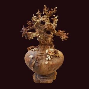 Bình phú quý hoa mai gỗ nu hương 90x47cm