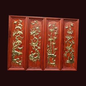 Tranh tứ quý gỗ hương thiếp vàng