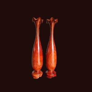 Lộc bình tỳ bà gỗ hương 60x12cm