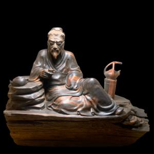 Tượng Thần Trà Gỗ Trắc Gia Lai 19x21x11cm
