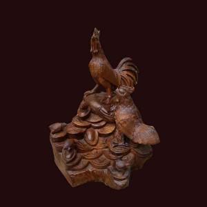 Tượng gia đình gà gỗ hương Gia Lai 56x52x36cm
