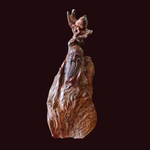 Tượng Thọ đào nu trắc đỏ đen 39x16x11cm