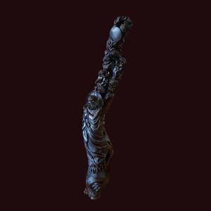 Tượng Đạt Ma gỗ lũa mun sừng 144x35x30cm