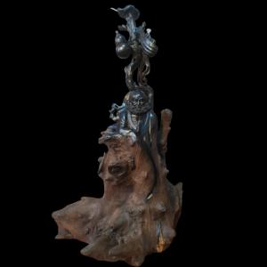 Tượng Đạt Ma Sư Tổ Gỗ U Nu Mun Sừng 74x42x36cm