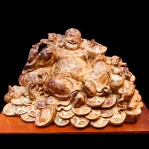 Tượng Phật Di Lặc Nhị Phúc Gỗ Nu Hương 45x30x22cm