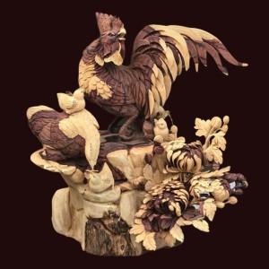 Tượng gia đình gà gỗ Cẩm Lai 66x68x48cm