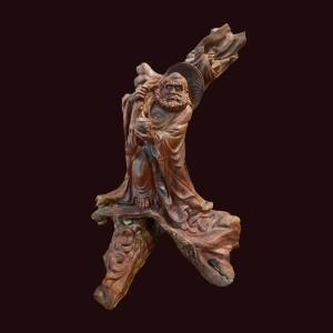 Tượng Đạt Ma gỗ lũa sưa dây 47x31x31cm
