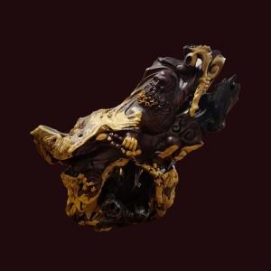 Tượng Đạt Ma gỗ nu lũa trắc dây 42x42x23cm