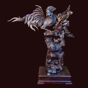 Tượng gia đình gà gỗ cẩm Sừng 89x88x31cm