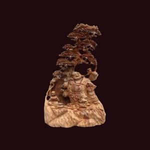 Tượng Di Lặc gỗ ngọc am Hà Giang 60x30x20cm
