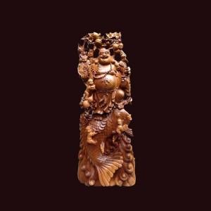 Tượng Di Lặc gỗ bách xanh Sơn La 123x48x30cm