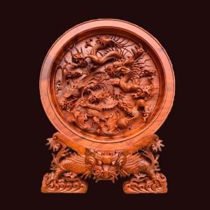 Đĩa Tứ Linh Gỗ Hương 63x50x16 (Đĩa dày 4,5cm)