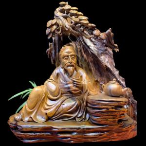Tượng Thần Trà Gỗ Bách Xanh Sơn La 52x61x25cm