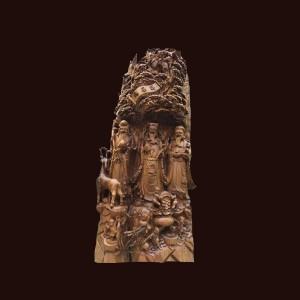 Tượng Tam Đa gỗ bách xanh 160x72x35cm