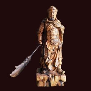 Tượng Quan Công xách đao gỗ Mun Hoa 61x22x12cm