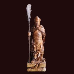 Tượng Quan Công chống đao gỗ Mun Hoa 61x22x12cm