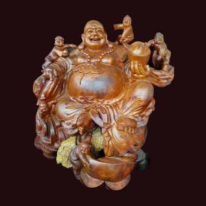 Tượng Di Lặc ngồi ngũ phúc gỗ hương ôm đá