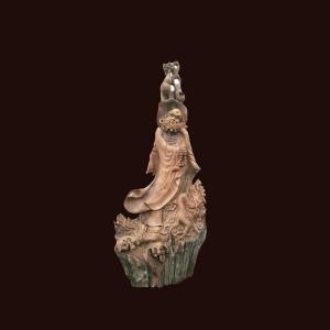 Tượng Đạt Ma gỗ hương Gia Lai 94x41x23cm