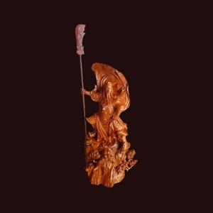 Tượng Quan Công gỗ cẩm chỉ 70x35x23cm
