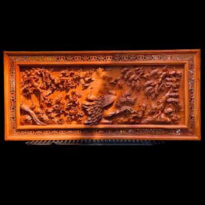 Tranh Phu Thê Viên Mãn Gỗ Hương Đá 152x70x7cm