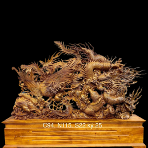 Tượng Tứ Linh Hội Tụ Gỗ Bách Xanh 94x115x22cm
