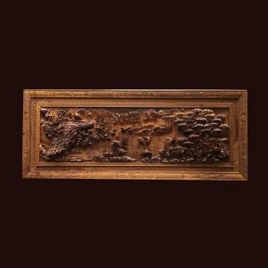 Tranh phu thê viên mãn gỗ bách xanh 89x223x11cm