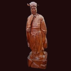 Tượng Khổng Minh gỗ hương Gia Lai 70x23x16cm
