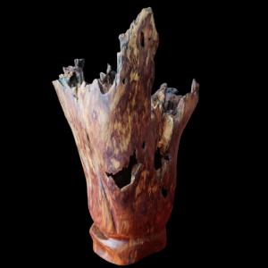 Bình Hoa Nghệ Thuật Gỗ Lũa Sưa Đỏ Quý Hiếm 36x19x23cm
