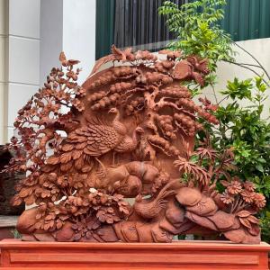 Phu Thê Viên Mãn Gỗ Hương Gia Lai 90x122x12cm