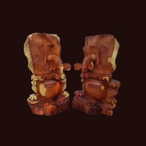 Tượng Cá Xiêm gỗ hương 61x36x20cm
