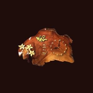 Tranh đồng hồ hoa lá gỗ hương 42x65x3cm