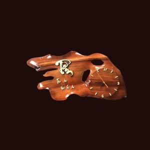 Tranh đồng hồ hoa lá gỗ hương 32x61x6cm
