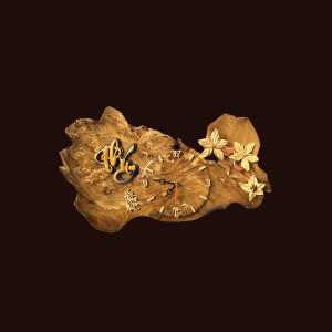 Tranh đồng hồ hoa lá gỗ nu nghiến 23x50x3cm