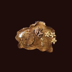 Tranh đồng hồ hoa lá gỗ nu kháo 37x53x2cm