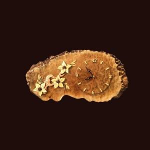 Tranh đồng hồ hoa lá gỗ nu kháo 23x50x2cm
