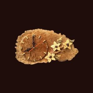 Tranh đồng hồ hoa lá gỗ nu kháo 20x40x2cm