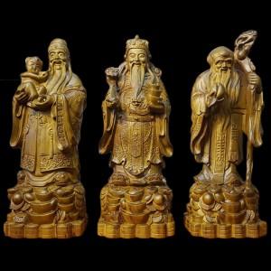 Tượng Tam Đa Phúc Lộc Thọ Gỗ Chiu Liu Xanh 60x21x19cm