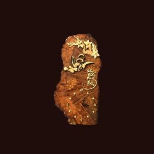 Tranh đồng hồ hoa lá gỗ nu nghiến 27x55x2cm