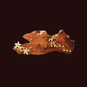 Tranh đồng hồ hoa lá gỗ hương 27x70x5cm