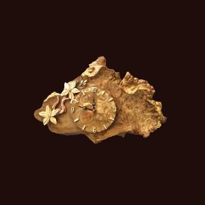 Tranh đồng hồ hoa lá gỗ nu nghiến 32x49x3cm