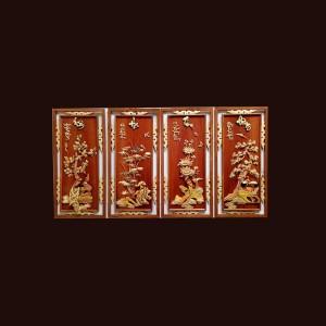 Tranh tứ quý gỗ hương 88x42x3cm