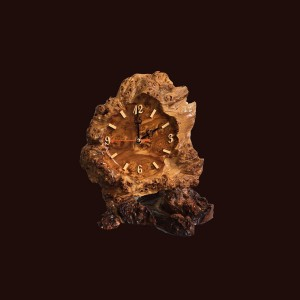 Tranh đồng hồ hoa lá gỗ nu nghiến 28x30x17cm