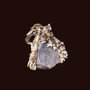 Tượng phu thê viên mãn gỗ hương ôm đá 80x80x45cm